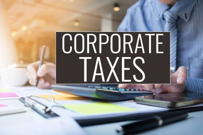 corporate taxes man calculating numbers graphic