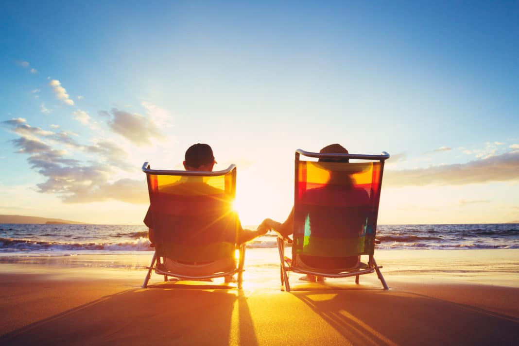 Early Retirement couple on beach